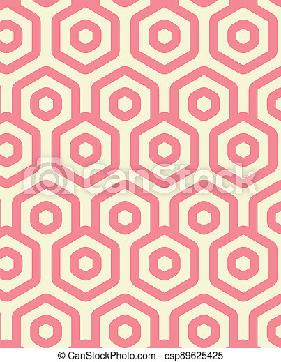 Abstract illustration of pink geometrical hexagonal shapes in seamless pattern against yellow backgr - csp89625425