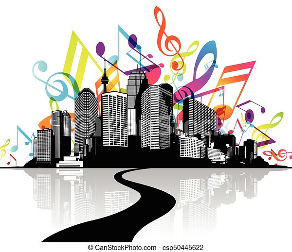 Abstract Illustration With Cityscape Road And Sky Created From Colorful Music Tunes