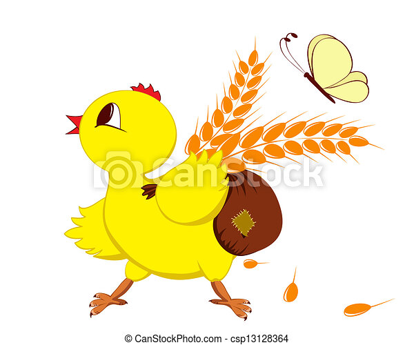 Abstract image of a chicken with wheat - csp13128364