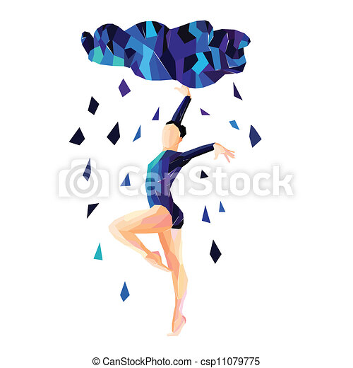 abstract image of a dancing girl in the rain rh canstockphoto com Line Dancing Clip Art Couple Dancing Clip Art