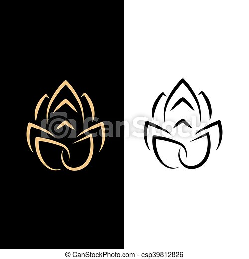 Abstract image of a lotus flower. black on white and gold on a black ...