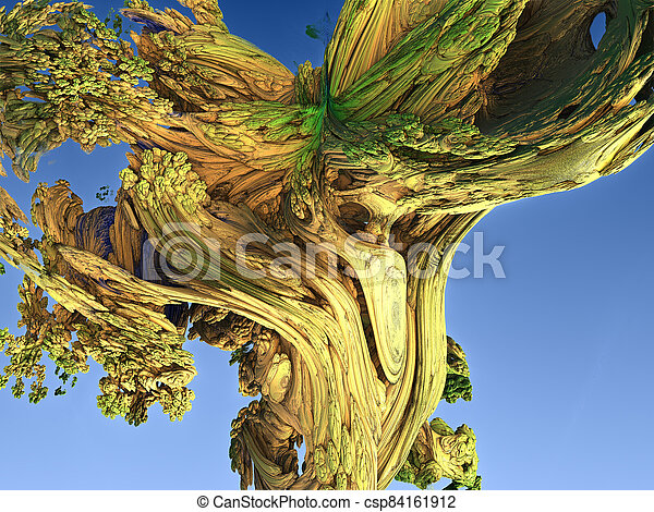 Abstract image of a trunk of an old tree. 3d rendering. Fractal - csp84161912