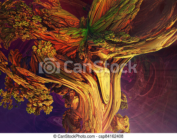 Abstract image of a trunk of an old tree.  Fractal. 3D Illustration - csp84162408