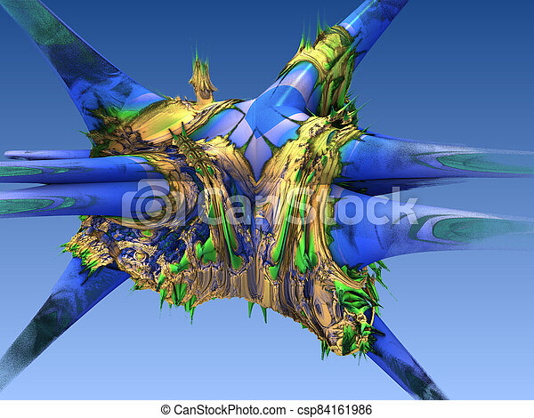 Abstract image of a virus cell, macro, closeup. 3d rendering - csp84161986
