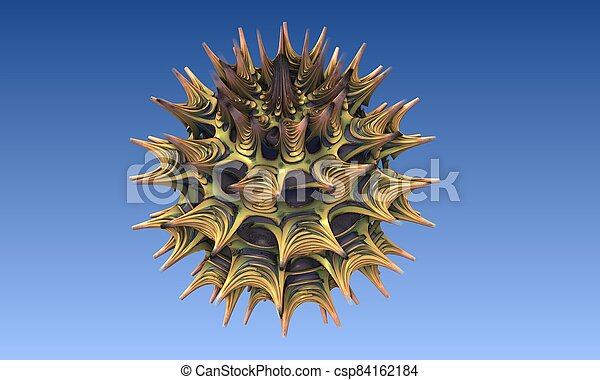 Abstract image of a virus cell, macro, closeup. 3d rendering - csp84162184