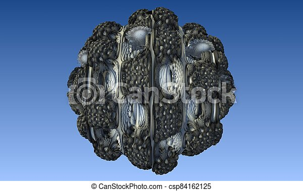 Abstract image of a virus cell, macro, closeup. 3d rendering - csp84162125