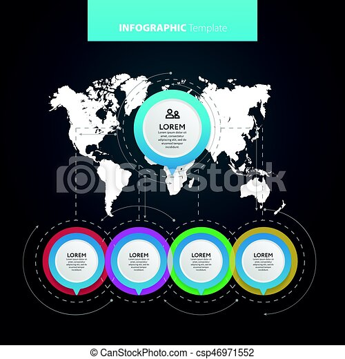 Abstract infographics number options template. Vector illustration. Can be used for workflow layout, diagram, business step options, banner, web design. - csp46971552