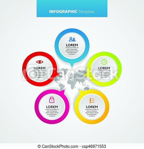 Abstract infographics number options template. Vector illustration. Can be used for workflow layout, diagram, business step options, banner, web design. - csp46971553