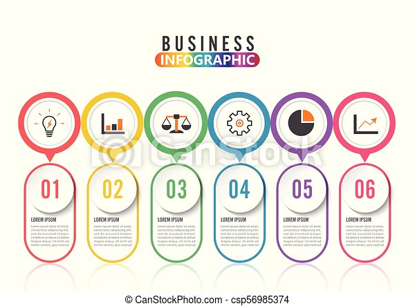 Abstract infographics number options template. Vector illustration. Can be used for workflow layout, diagram, business step options, banner, web design. Stroke icons. - csp56985374