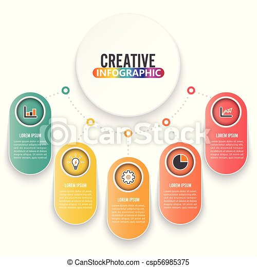 Abstract infographics number options template. Vector illustration. Can be used for workflow layout, diagram, business step options, banner, web design. - csp56985375