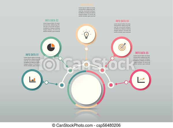 Abstract infographics number options template. Vector illustration. Can be used for workflow layout, diagram, business step options, banner, web design. Business data visualization. Process chart. - csp56480206