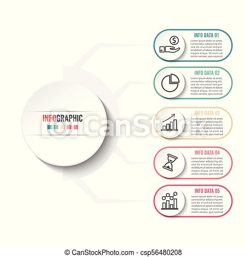 Abstract infographics number options template. Vector illustration. Can be used for workflow layout, diagram, business step options, banner, web design. - csp56480208