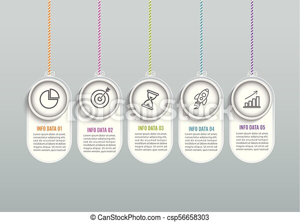 Abstract infographics number options template. Vector illustration. Can be used for workflow layout, diagram, business step options, banner, web design. - csp56658303