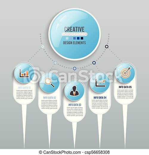 Abstract infographics number options template. Vector illustration. Can be used for workflow layout, diagram, business step options, banner, web design. - csp56658308