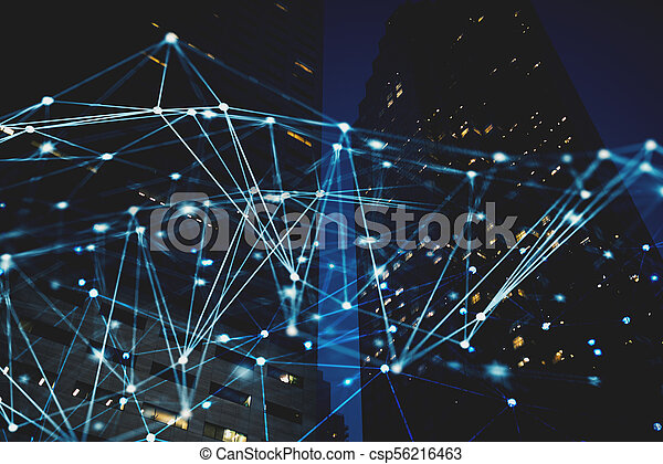 Abstract internet connection network with night city with skyscrapers at the background - csp56216463