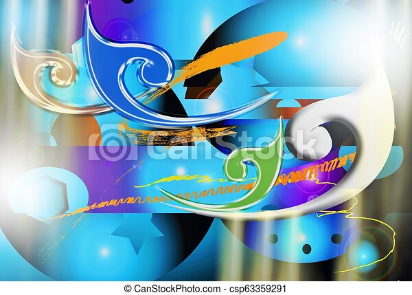 Abstract iron techkology and line Thai design graphic - csp63359291