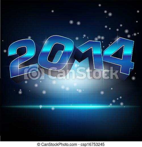 abstract, jaar, illustratie, vector, nieuw, 2014 - csp16753245
