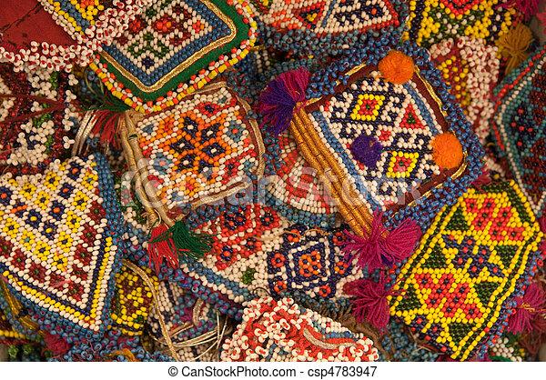 abstract, kralen, achtergrond, ethnische  - csp4783947