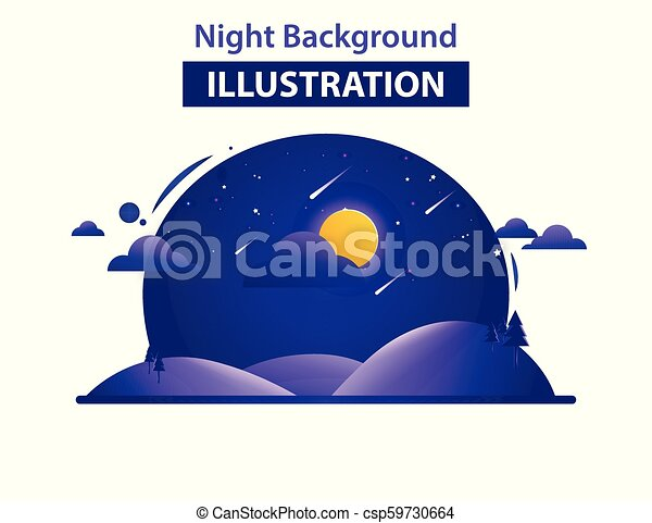 Abstract Landscape Background Vector Illustration, Night background illustration - csp59730664