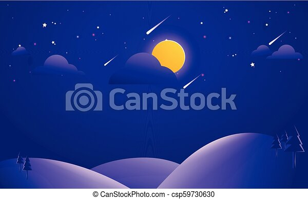 Abstract Landscape Background Vector Illustration, Night background illustration - csp59730630