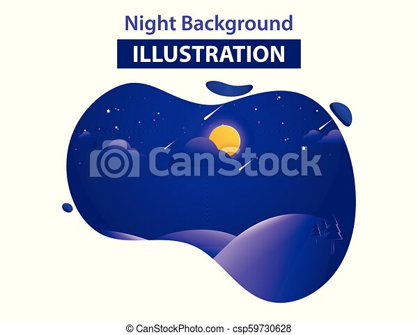 Abstract Landscape Background Vector Illustration, Night background illustration - csp59730628
