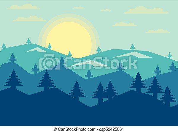 Line Art Vector Illustrator : Abstract landscape pine mountain view evening sun clip art