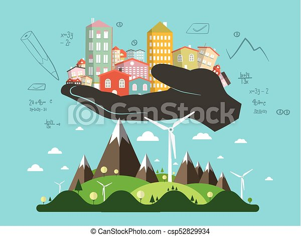 Abstract Landscape with Architect Hand Full of Buildings - csp52829934