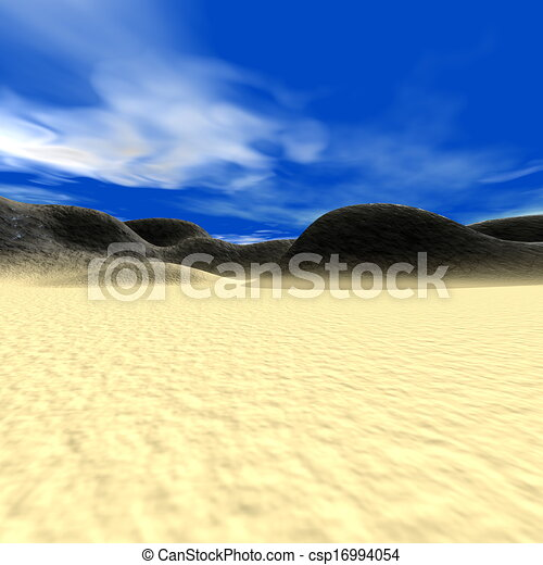 Abstract landscape with hills and sand - csp16994054