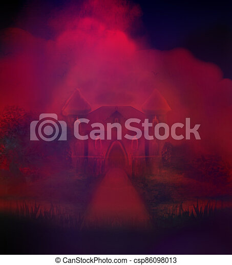 Abstract landscape with old castle in dark night - csp86098013