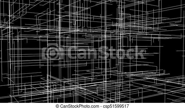 3d Line Drawings : Abstract lattice d shape with lines and levels