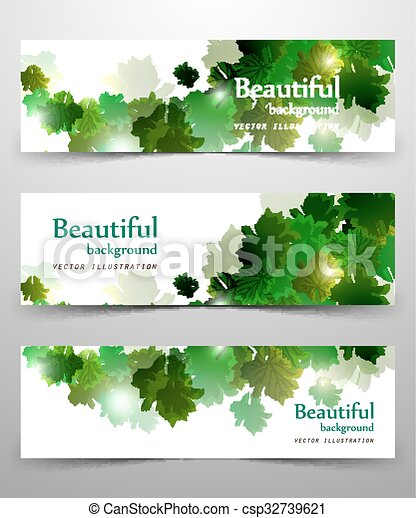 abstract leaves banner - csp32739621
