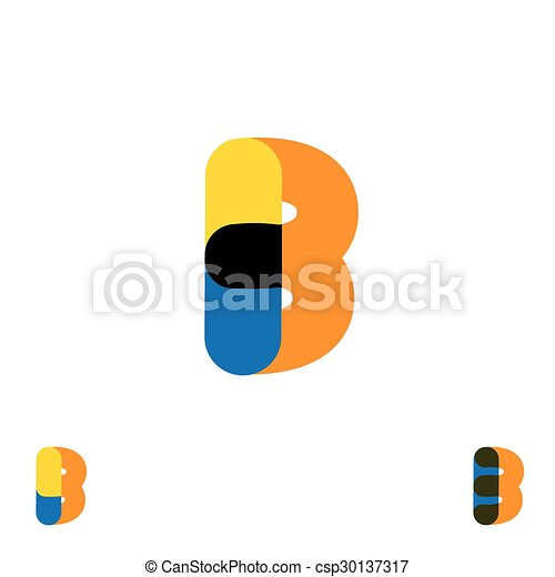 abstract letter B logo design vector template and colorful creative character icon sign - csp30137317