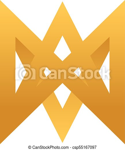 Abstract Letter M With Gold Color Logo Template Vector