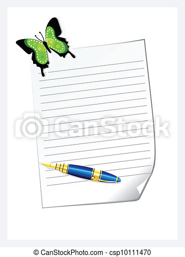 abstract letter pad with pen vector - csp10111470