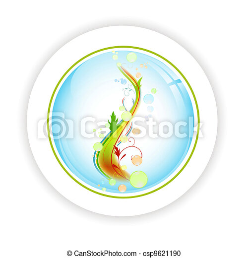 abstract life tree with bubblies in round icon - csp9621190