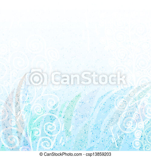 Abstract light   blue floral background - csp13859203