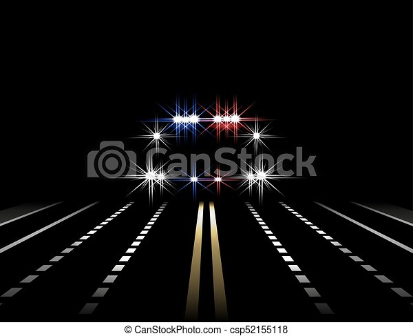 Abstract Light Effects Police Car At Night With Lights In Front