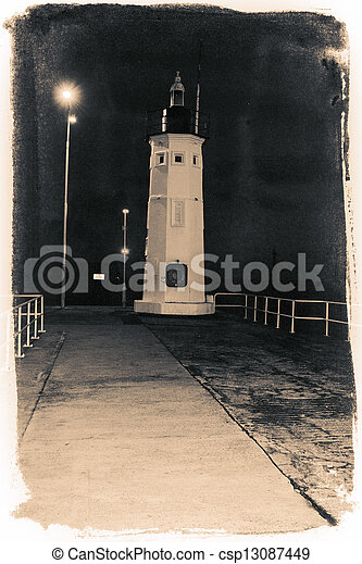 Abstract Lighthouse at night - csp13087449