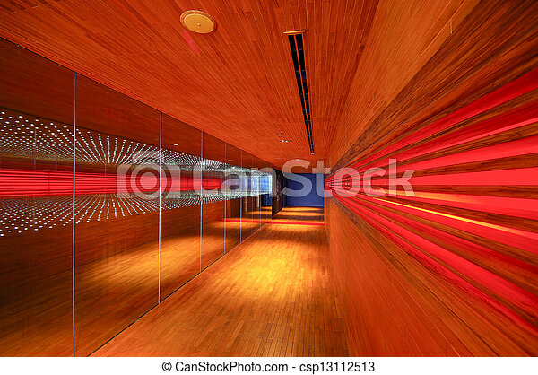 abstract lighting wood walkway in restaurant - csp13112513