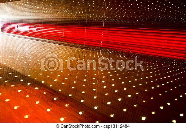 abstract lighting wood walkway in restaurant - csp13112484