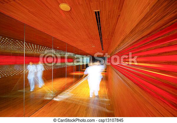 abstract lighting wood walkway in restaurant - csp13107845