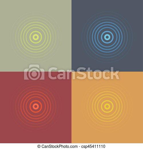 abstract line ripple emblem set. Radar, sound or vibration icon. Flat design. - csp45411110