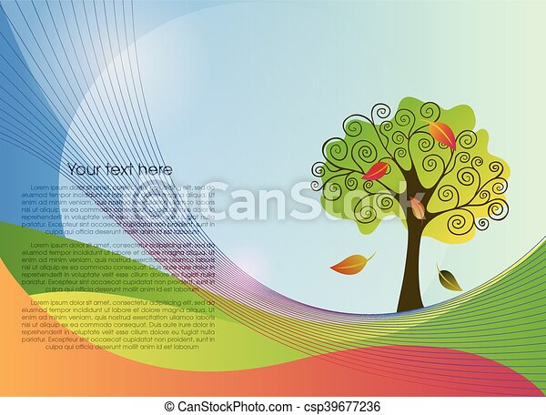 Abstract lines background with a tree - csp39677236