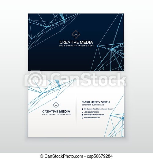 abstract lines business card blue template - csp50679284