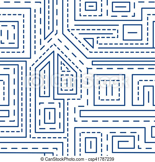 Abstract lines seamless pattern on white background - csp41787239