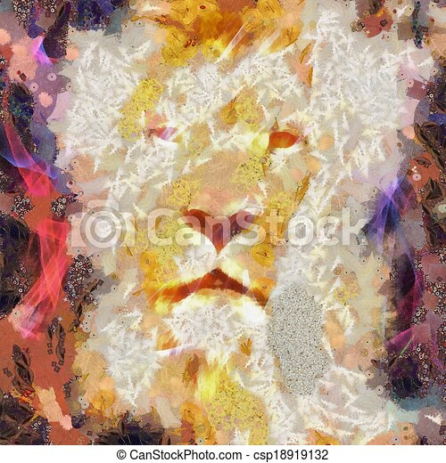 Abstract Lion Collage Painting - csp18919132