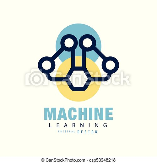 abstract logo design of machine learning concept of neural network