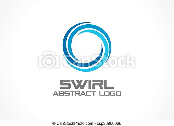 Abstract logo for business company. Eco, nature, whirlpool, spa, aqua swirl Logotype idea. Water spiral, blue circle three segment mix concept. Colorful Vector icon - csp38960066