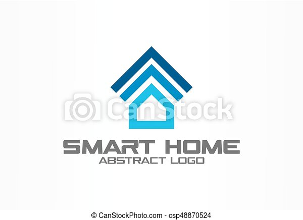 Abstract Logo For Business Company Corporate Identity Design Element Smart House System Wi Fi Remote Control Logotype Idea Home Technology