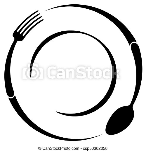 abstract logo of a cafe or restaurant a spoon and fork on a plate rh canstockphoto com